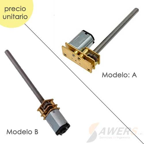 Micro Motorreductor N20 6V con eje M4x55mm 100RPM