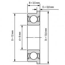 MF128ZZ 8x12x3.5mm Rodamiento de brida