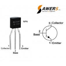BC547 Transistor NPN 45V 300Mhz 110FE