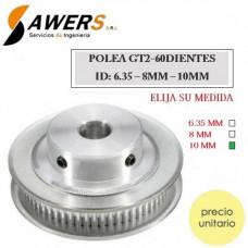 Polea GT2-60D ID-8mm Correa-6mm
