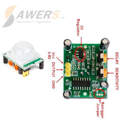 Sensor de movimiento PIR HC-SR501 5V