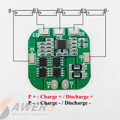 BMS Circuito de carga y descarga 4S PCM 14.8V 20A