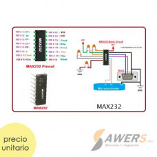 MAX232 conversor RS232 serial DIP-16