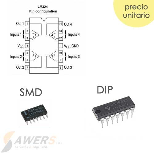 LM324 DIP/SMD Amplificador Operacional Cuadruple