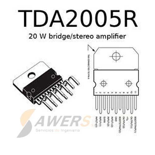 TDA2005R Amplificador Stereo Bridge 20W