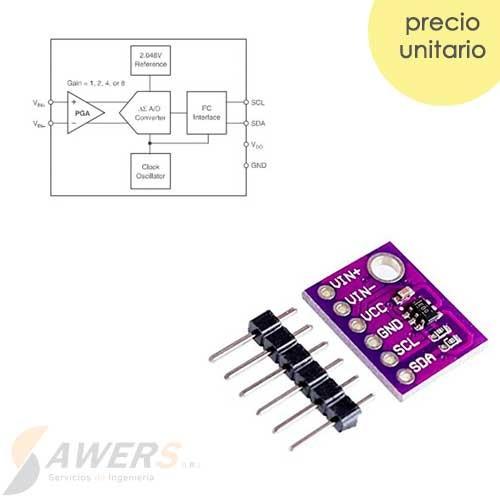 ADS1110 Conversor ADC 16bit 1CH PGA Delta-Sigma
