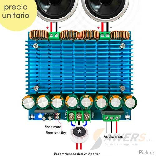 TDA8954 Amplificador Stereo 24V-420W