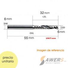 Fresa Corte espiral 1 flauta CED=SHK=6mm