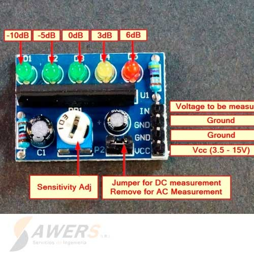 KA2284 VUmetro Indicador de nivel de Audio 5-leds