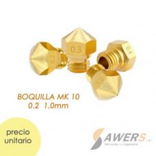 Boquilla MK10 Nozzle 1.75mm Bronce 0.2-1mm (rosca M7)
