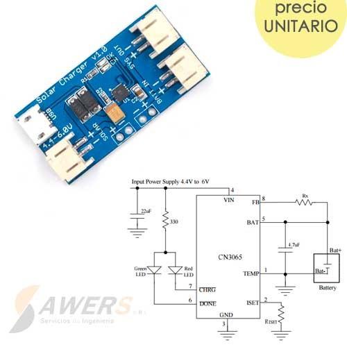 CN3065 Carga Solar para Lipo 3.7V 0.5A