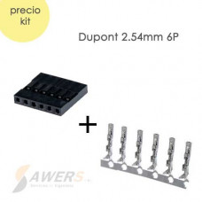 Dupont conector hembra 2.54mm 6P