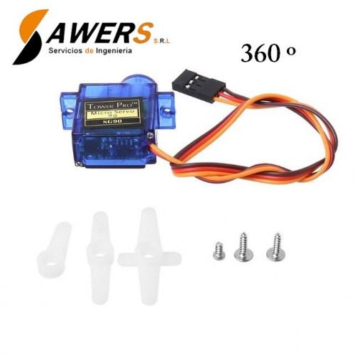 Mini Servomotor SG90 5V 360 Grados (engrane plastico)