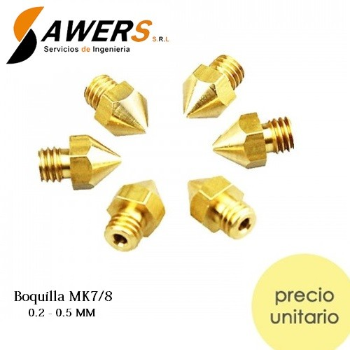Boquilla MK7/8 Nozzle Bronce 0.2-0.5mm (rosca M6)