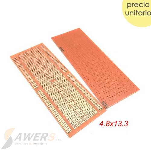 PCB Perforada cara simple 4.8x13.3cm (baquelita protoboard)