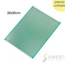 PCB Perforada cara simple 20x30cm (Fibra de Vidrio)