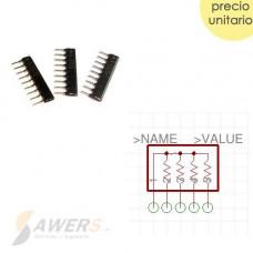 Resistores array SIP8 tipo peineta 10k