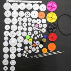 Kit educativo de 106 piezas engranajes/poleas/cremalleras