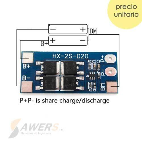 BMS Circuito de carga y descarga 2S 7.4V 10A 18650