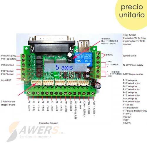 MACH3 Interface Controlador 5 Ejes para CNC V2