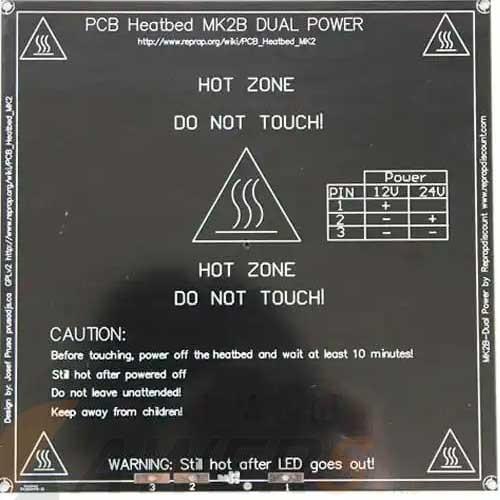 Cama caliente PCB MK2B 12/24V