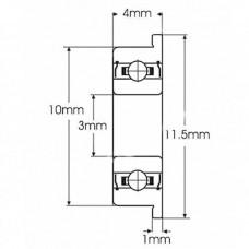 F623ZZ 3x10x4mm Rodamiento con brida