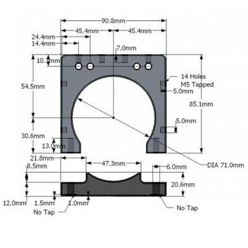 Abrazadera de Aluminio 75mm Spindle Motor  (V-SLOT)