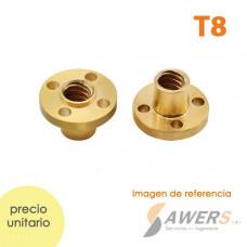 Tuerca T8 de Bronce para Husillo trapezoidal