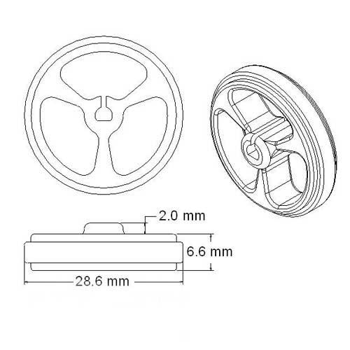 2xRueda de goma para micromotor 34x7mm (PAR)