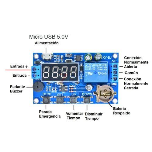Temporizador 0-999min Relay 12V
