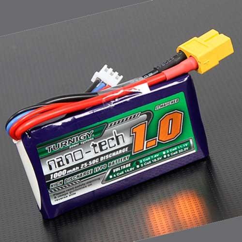 Bateria Lipo 7.4V 1000mAh 25-50C 2S Turnigy Nano-Tech
