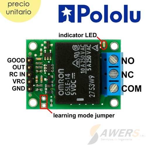 Interruptor RC Pololu con relay (ensamblado)