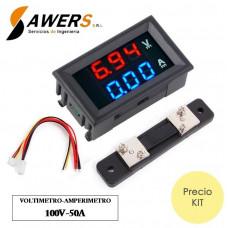 Voltimetro-Amperimetro 100V-50A para tableros