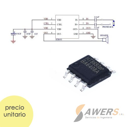 HT8693SP Amplificador de Audio 3.5W 5V Mono
