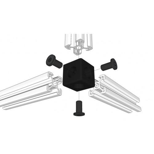 Conector cubico de 3 vias (cube corner)