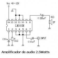 LM380N Amplificador de Potencia de Audio