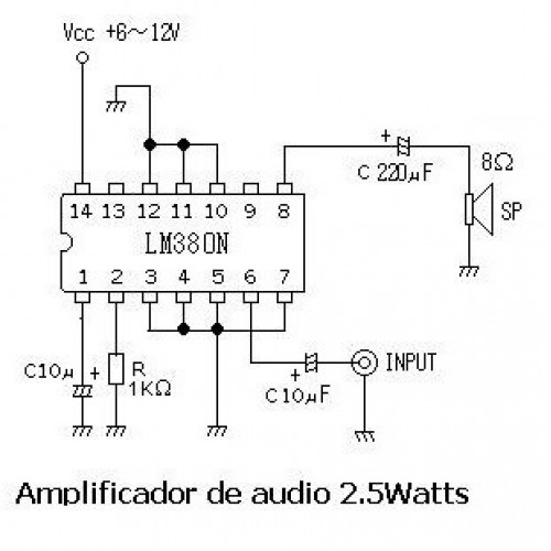 LM380N Amplificador Mono 2.5W