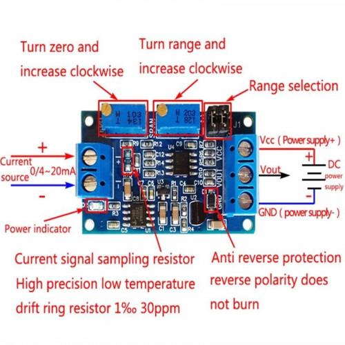 Modulo conversor de datos 4-20mA a 0-5V