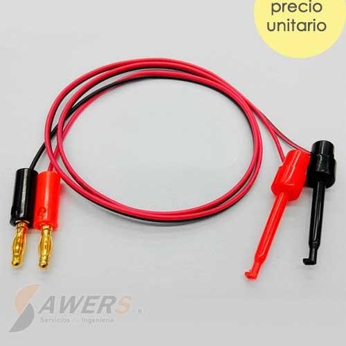 Cable conector tipo Clip y banana (par)