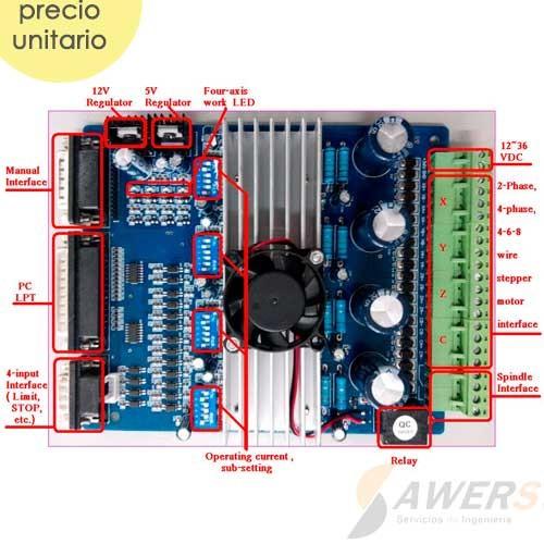 MACH3 Controlador CNC con 4 Drivers TB6560