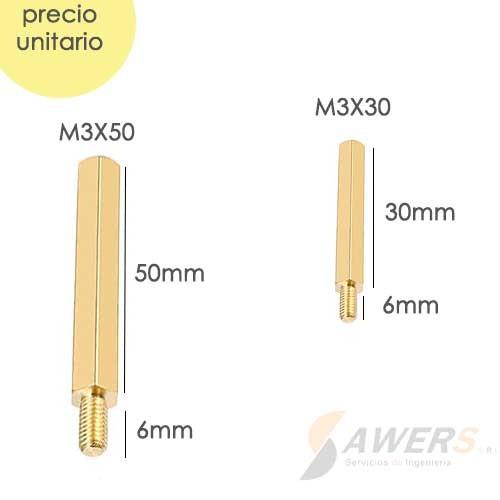 Tornillo separador hex metalico M-H M3x50 M3x30