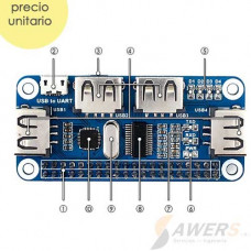 Concentrador Hub USB HAT para RPI Zero