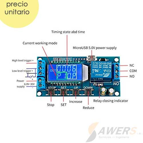 Temporizador Sincrono 0-9999min LCD y Relay 5VDC