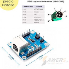 Modulo Conversor PS2 a Serial TTL 5V