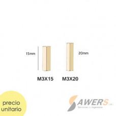 Tornillo separador hex metalico H-H M3x15 M3x20