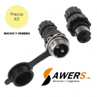 Conector de aviacion GX16 - 2pines Impermeable M-H