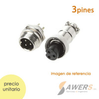 Conector de aviacion GX16 - 3pines Impermeable M-H