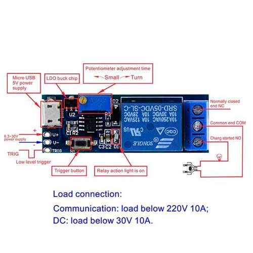 Temporizador 0-24sec Relay 5VDC MicroUSB