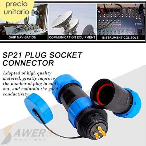 Conector de aviacion SP21 - 2pines M-H Impermeable
