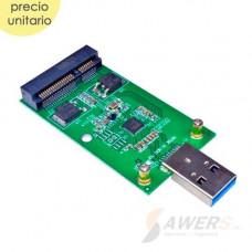 Adaptador USB 3.0 Mini PCIE a Disco SSD mSATA